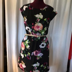 Flowered Asymmetrical Dress